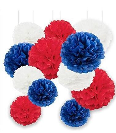 Red white blue national decor tissue paper pom pom 12pcs 10inch red white blue national decor tissue paper pom pom 12pcs 10inch 8inch paper flowers pom pom decor birthday party decor in party diy decorations from home mightylinksfo