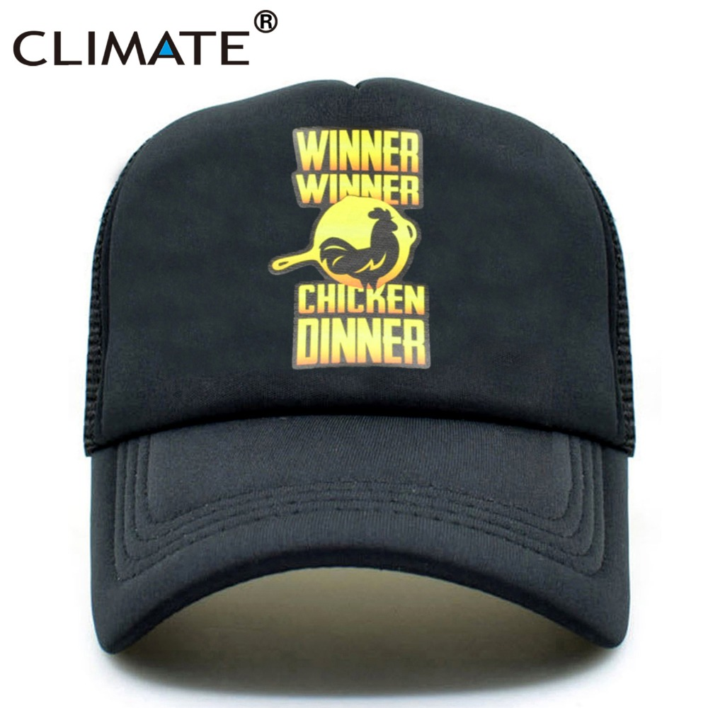 CLIMATE Men game Trucker Mesh Caps Hat Cool Summer Black Mesh Caps Winner Winner Chicken Dinner Baseball Net Trucker Hat Caps