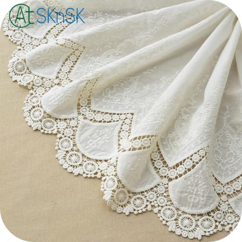 Encaje veneciano simetría Bilateral algodón blanco calado bordado encaje tela suave Boda nupcial encaje diy parche tela