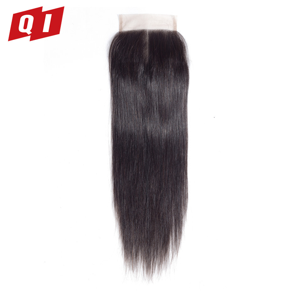QI Hair 100% Non Remy Human Hair Malaysian Straight Lace Closure 8-20 Inch 4*4 Free/Middle/Three Part Closure Natural Color