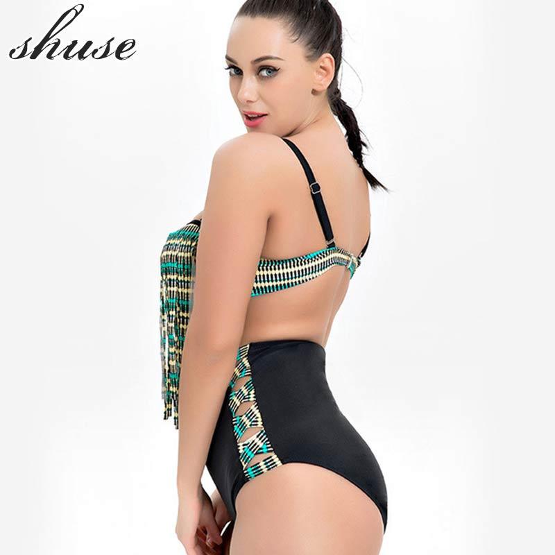 SHUSE Plus Size Bikini Swimsuit Әйелдер Гейті Талия - Спорттық киім мен керек-жарақтар - фото 4