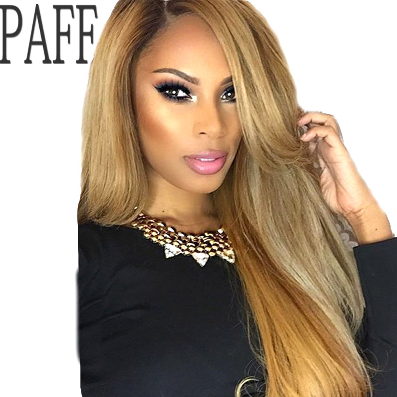 PAFF Blonde Lace Front Human Hair Wig Peruvian Virgin Hair Silky Straight #27 Color Side ...