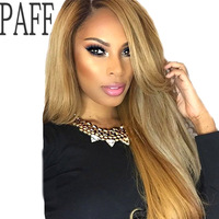 PAFF Blonde Lace Front Human Hair Wig Peruvian Virgin Hair Silky Straight #27 Color Side Part Lace Wig Baby Hair Bleached Knots