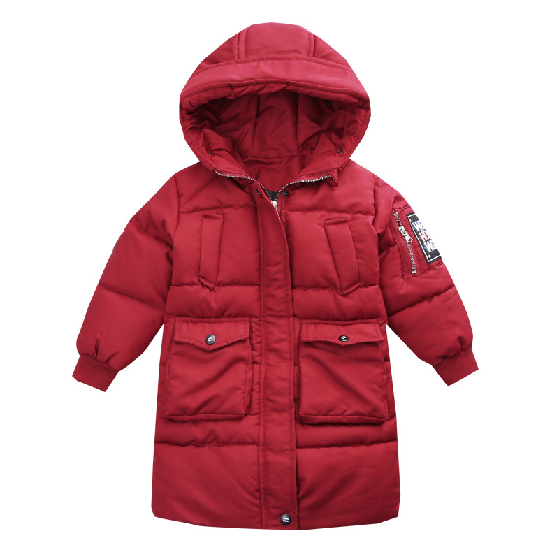 Korea Style Long Cotton Coat for Boys Hooded Winter Jacket for Boy Army Green Cotton Boys Snowsuit Warm Kids Winter Jacket 2017 new fashion boys winter jacket cotton coat children parka detachable faux fur hooded collar long style army green red black
