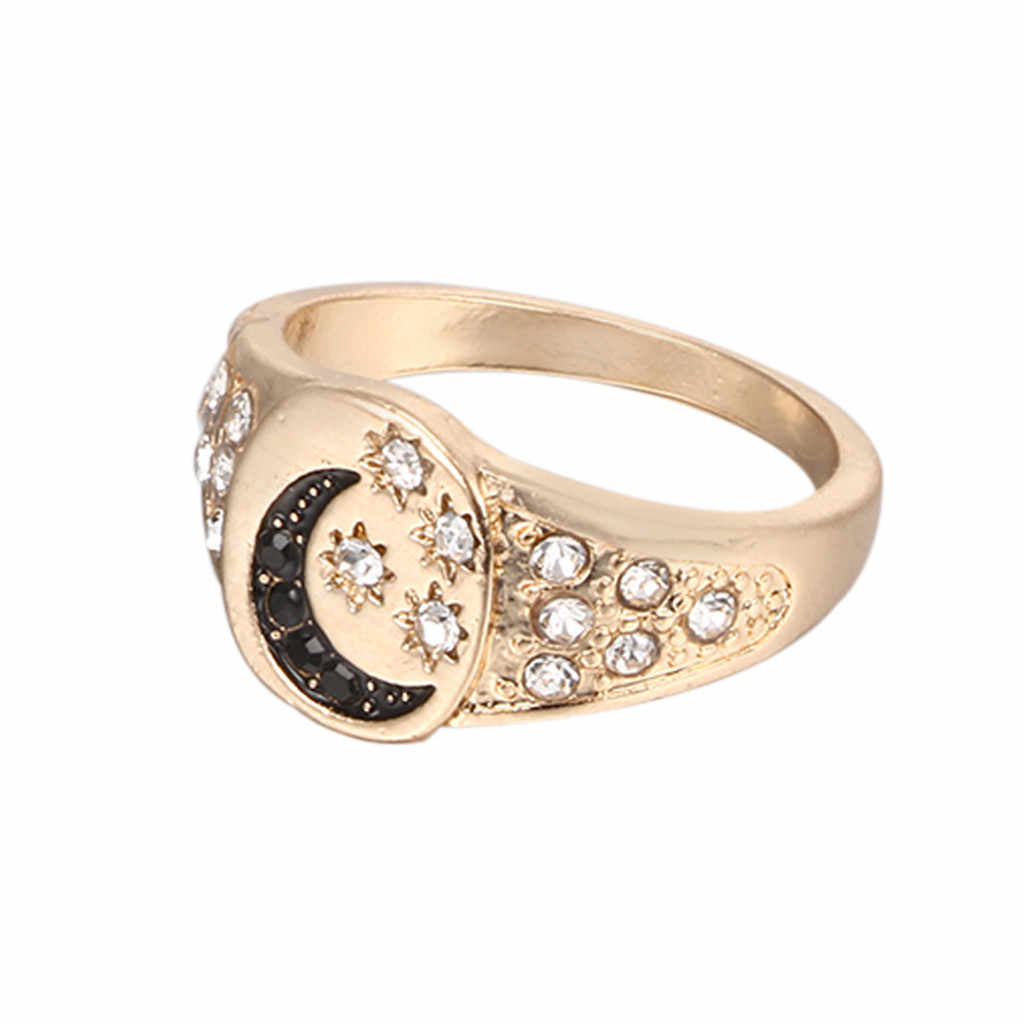 Women Engagement Handmade Small New Women Fashion Personality Moon Star Combination Three Piece Jewelry Y611