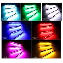купить 2018 New Car LED Strip Light 4pcs LED Strip Lights 16 Colors Styling Decorative Atmosphere Lamps Car Interior Light With Remote дешево