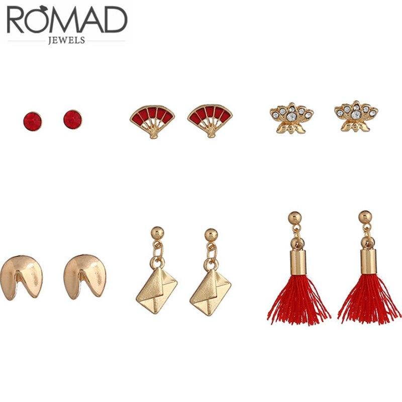 6pcs Bohemian Fashion Jewelry Suite Lotus Fan Shaped Earrings for Women Gold Tassel Pendant Stud Earrings Crystal Accessories