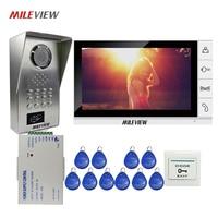 FREE SHIPPING 9 LCD Screen Monitor Video Intercom Door bell Phone System RFID Code Keypad Unlock Outdoor Camera + Power Control