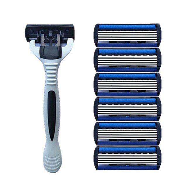 1 Añadir 4 Conjuntos de Combo de seguridad para hombres tradicional Clásico 6 capas de afeitar hoja de afeitar Manual de afeitar de acero inoxidable hoja