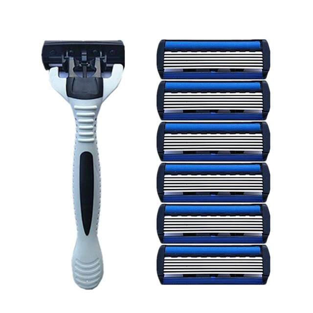 1 add 4 Combo Set Men Safety Traditional Classic 6 Layers Shaving Hair Blade Razor Manual Stainless Steel Shaving Hair Blade