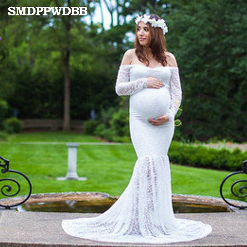 US $30.99 |SMDPPWDBB Lace Maternity Dresses Maternity Photography Props  White Plus Size Gown Dresses Women Pregnancy Party Maxi Dresses-in Dresses  ...