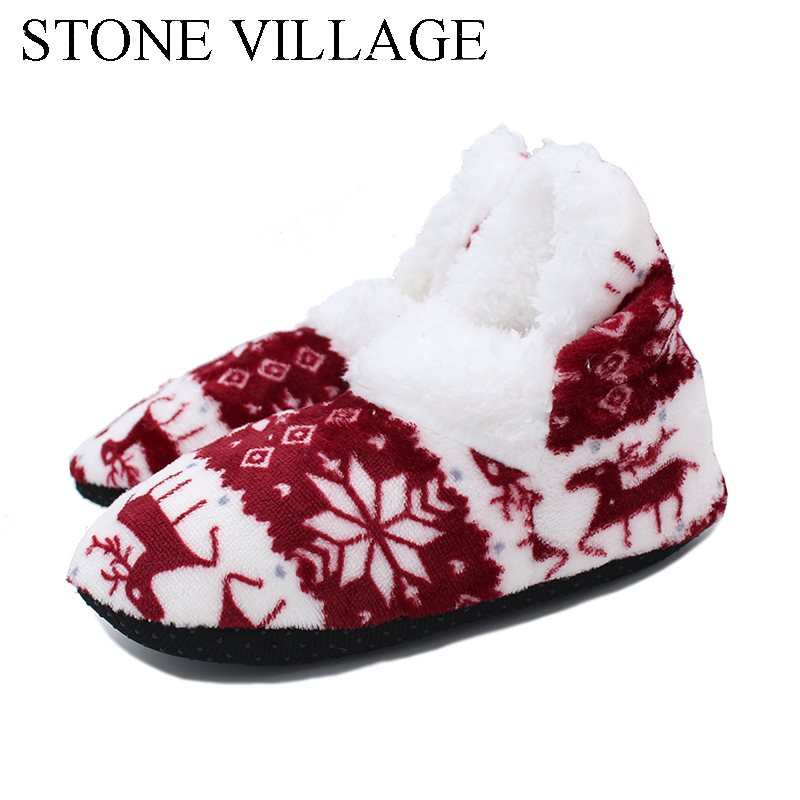 Christmas Gift Warm  Indoor Shoes Reindeer Pattern Plush Indoor Cotton Shoes Bota With Bow Non-slip EVA Sole Floor Slippers Christmas Gift Warm  Indoor Shoes Reindeer Pattern Plush Indoor Cotton Shoes Bota With Bow Non-slip EVA Sole Floor Slippers