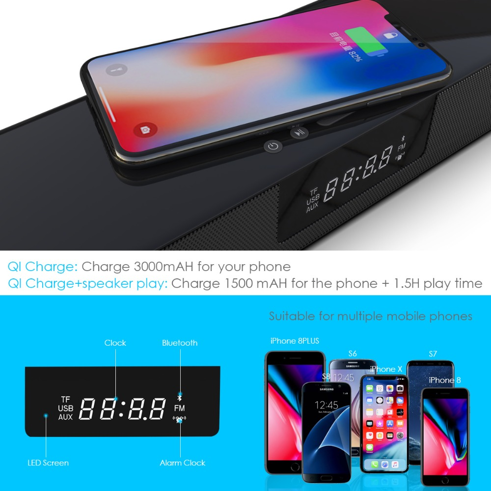 Image 4 - ELE ELEOPTION 4000mAh Column Wireless Bluetooth Speaker TV Soundbar Stereo Home Theater Sound Bar TF USB RCA Clock For PC TV-in Soundbar from Consumer Electronics