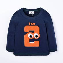 2017 Spring/Autumn 1-6T Kids Cotton Long Sleeve T-Shirt Baby Boys Girls Age Number Blouse Tops Children Pullovers Tee Camiseta все цены