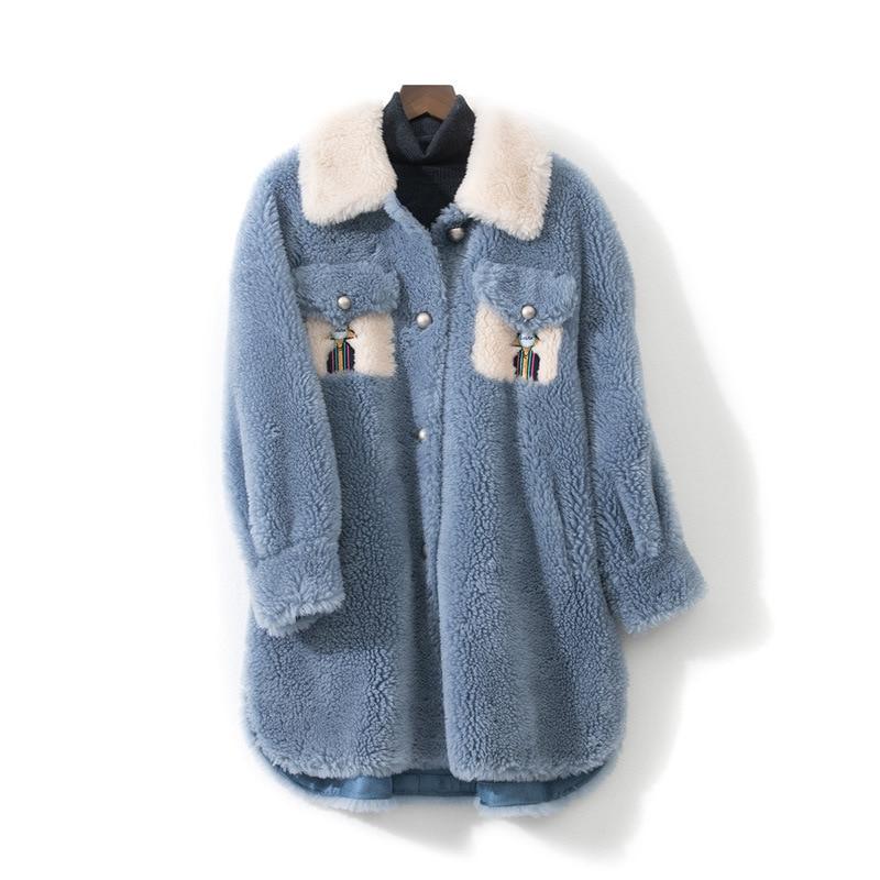 Lana Mujeres blanco Otoño Estilo Ovejas Engrosada Tamaño Azul Las De Abrigo Invierno Gran Caliente Nuevo Ropa 2019 Chaquetas Largo qStvF