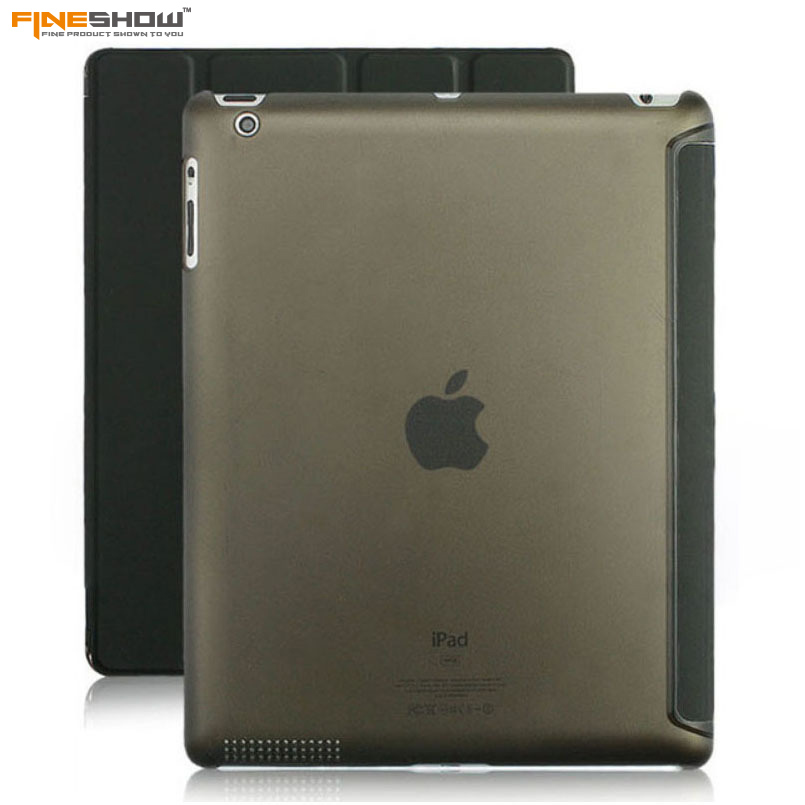 Fineshow Tablet Case for Apple iPad 2 iPad 3 iPad 4 Transparent Clear Leather Smart Cover