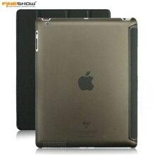 Fineshow Tablet Case for Apple iPad 2 iPad 3 iPad 4 Transparent Clear Leather Smart Cover Wake up Sleep Case Funda Para ET00071