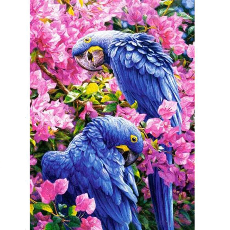 2017 30x40cmtwo Blue Birds In The Flowers Favorites Diamond Embroidery Diy Creative Home Decor 1pcs