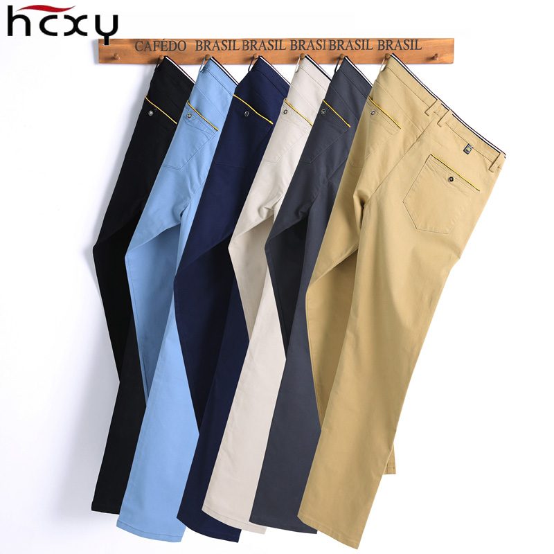 HCXY 2019 Men Pants hombres pantalones Full Cotton Slim Straight Trousers Fashion Men s Commercial Casual