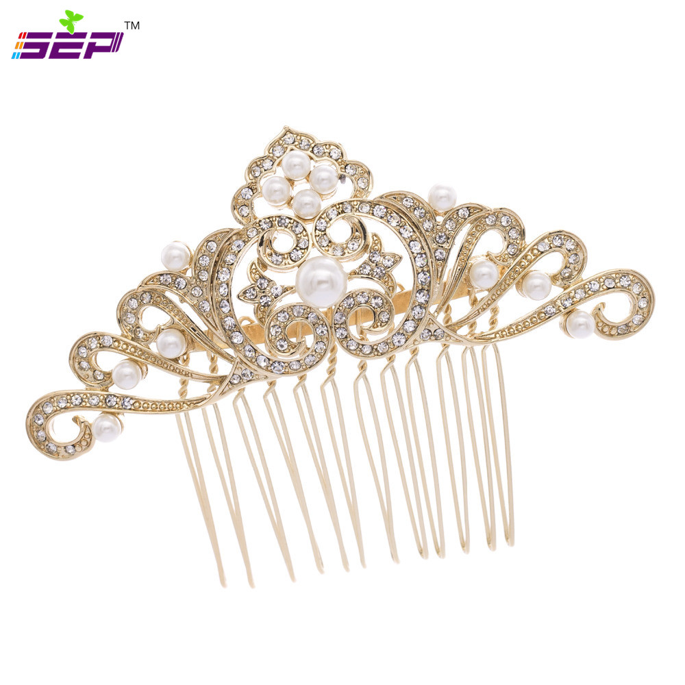 Trendy bridal headpiece - 2016 New Hair Combs Trendy Plant Rhinestone Crystals Hair Accessories Jewelry Flower Comb Bridal Headpiece 4144r