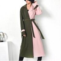 LANMREM Spring Autumn 2018 New Pattern Korean Fashion Patchwork Color Turn Down Collar Mid Calf Dress