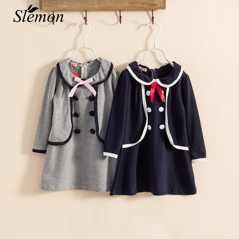 Autumn Spring Long Sleeve College Style Dress 2017 Kids Girls Clothing Fake Two Pieces Dresses for School Girl 2-8 Years Old киев продать мягкую мебель