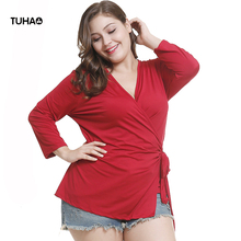 TUHAO 2018 Autumn Winter Women's Blouse Cardigan Collage Stitching RED Blouses Shirts Top Plus Size 3XL 2XL Female Clothing LQ73