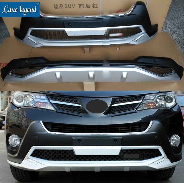 Fit for Toyota RAV4 RAV 4 2013-2015 High Quality ABS Chromed Plastic Front+Rear Bumper Protector Cover Trim 2PCS/SET Car styling for 2011 2012 2013 2014 2015 kia sportage high quality plastic abs chrome front rear bumper cover trim car styling accessories