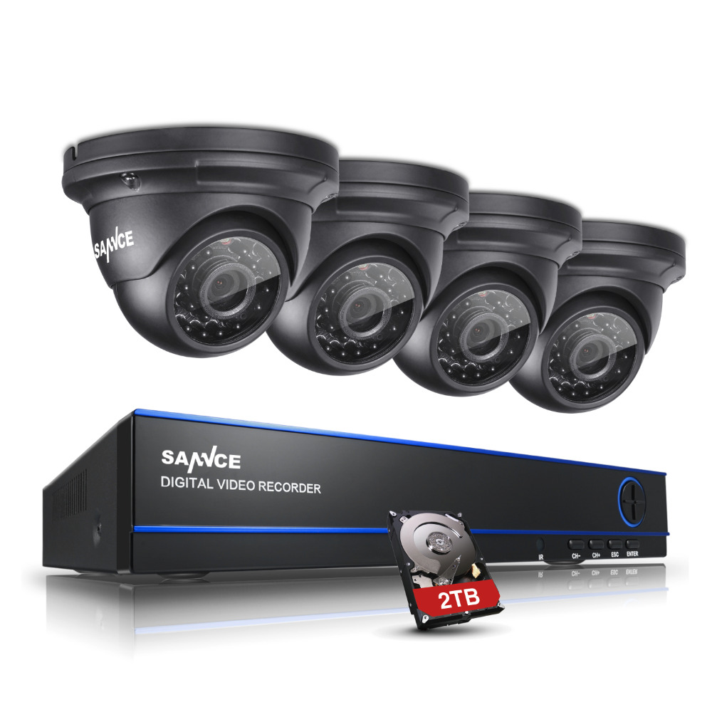 SANNCE 2.0MP 1080P HD 4 Channel DVR AHD Surveillance Kit 4PCS Outdoor Home Security IR Night Vision Camera CCTV System with 2TB sannce hd 4ch cctv system hdmi ahd dvr kit 720p outdoor security waterproof night vision surveillance kits with 4 cameras 1tb