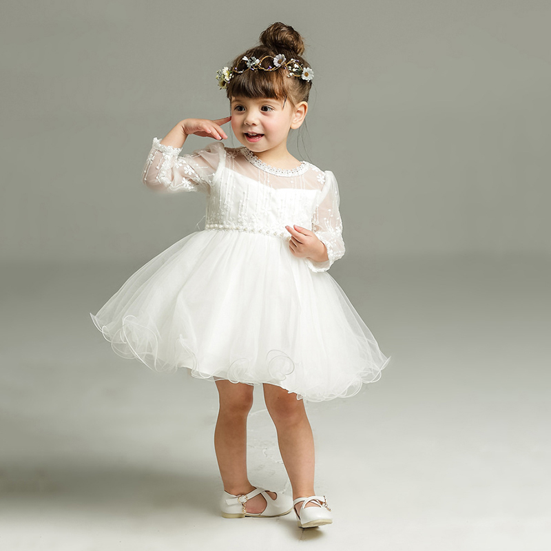 White Infant Baptism Dresses Newborn Christmas Clothes Baby Girls Christening Gown Dress Little Girls 1 2 Birthday Dress Party
