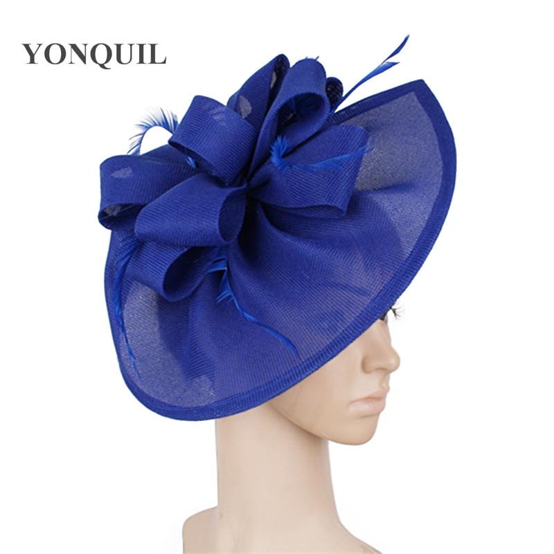 Royal Blue Feather Fascinators Races Hats For Women Elegant Red Loop Fascinator Hat Girls Ladies Formal Wedding Dress Hats SYF66