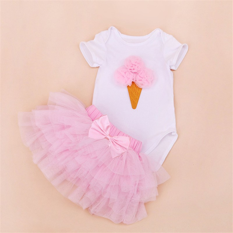 Tutu Baby Birthday Set Summer Short Sleeve Roupas Infantis Bebes 1st Birthday Outfit+Tutu Pettiskirt Dress Party Clothing Sets 10