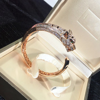 Brand Fashion copper Jewelry For Women Panther Bangle gold Jewelry zircon leopard animal Bracelet luxury brand replica jewelry