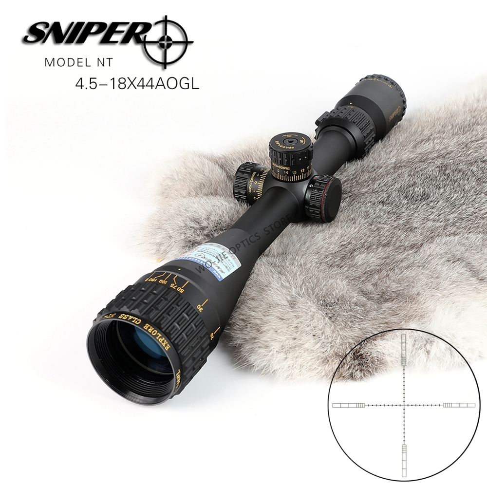 SNIPER NT 4.5-18X44 AOGL Hunting Riflescopes Tactical Optical Sight Full Size Glass Etched Reticle RGB Illuminated Rifle Scope