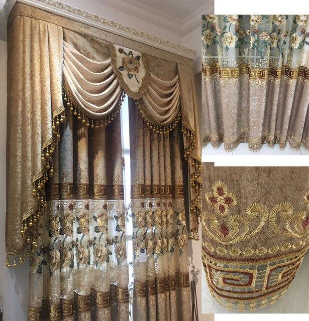 Modern European Luxury Curtains For Bedroom Embroidered Voile Curtains For  Living Room Embroidered Drapes Velvet Curtains