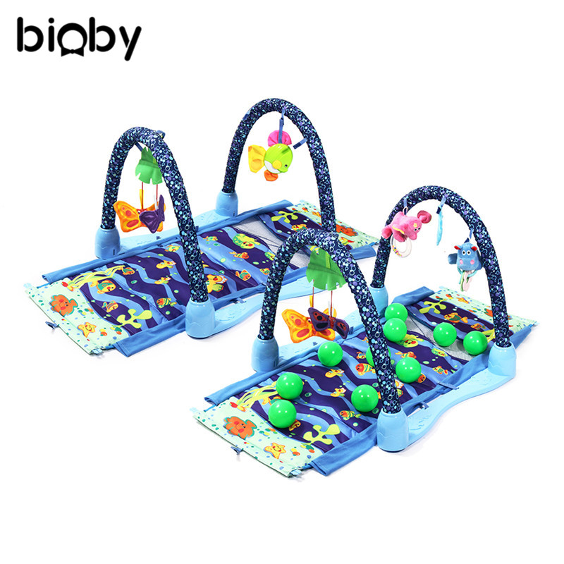 3 In 1 Ocean Seas Blanket With Frame Rattle Musical Play Mat Lullaby Baby Activity Play Gym Soft Mat Floor Crawling Rugs Playmat 3 in 1 newborn infant baby game bed baby toddler cribs crawling activity gym mat floor blanket kids toys carpet bedding soft