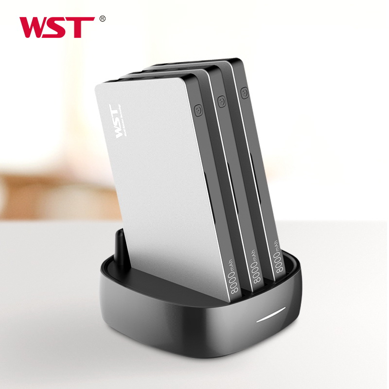 WST Portable Charger Station for Family Public Business 3PCS 8000mAh Power Bank with Built in Charging Cables Charger Station