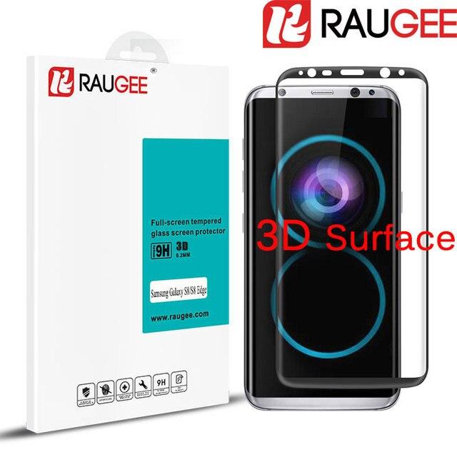 Ultra thin 3d superficie 9 h raugee cubierta completa de vidrio templado para samsung galaxy s8/s8 teléfono borde protector de pantalla de cine + free nave