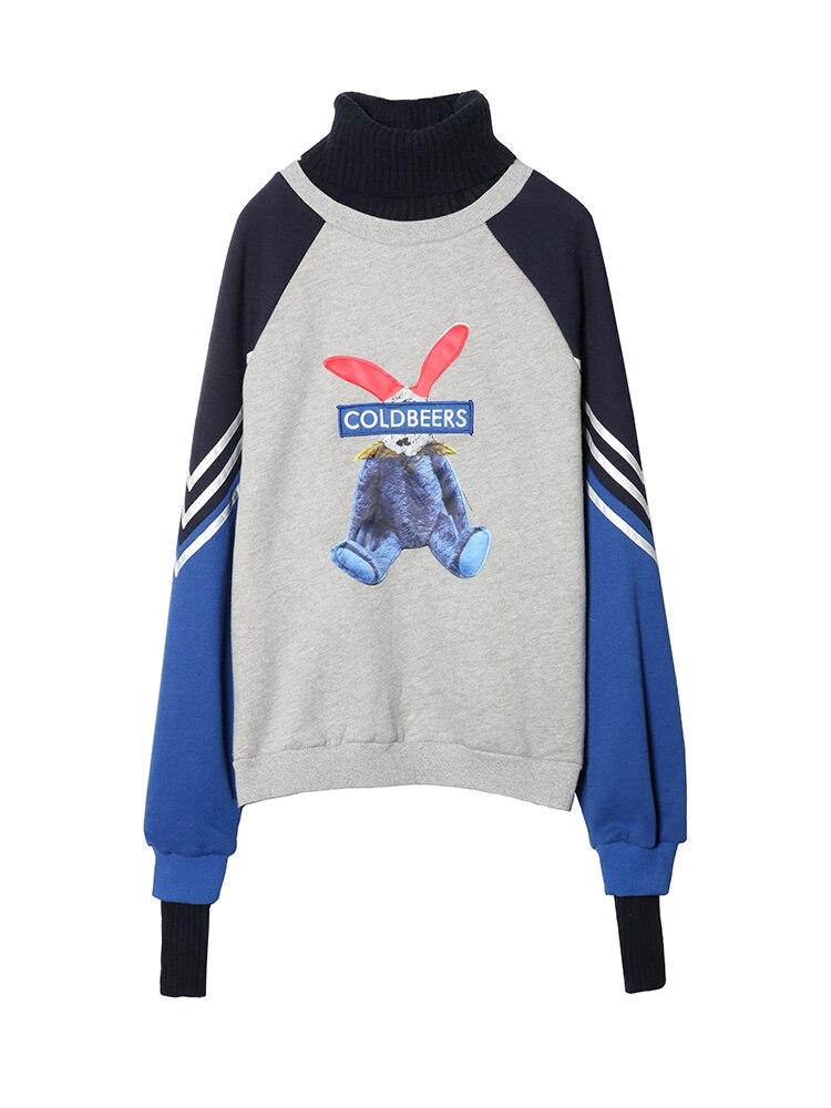 Cartoon Rabbit Plus Velvet High Collar Female Loose Spring Autumn Thai Tide Lazy Wind Color Women Casual Hoodies