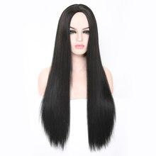 Rosa Star длинный прямой синтетический парики женские для женщин средняя часть парик Черный Термостойкое волокно косплей костюм парик 11 цветов