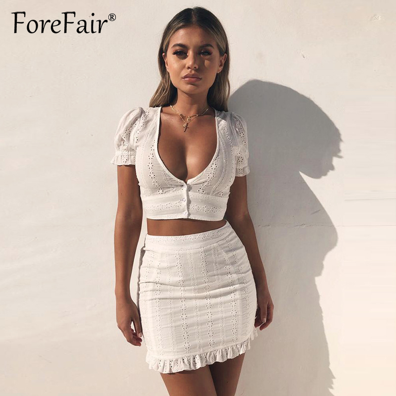 Forefair White Lace 2 Piece Set Women Summer Casual Cotton Sets Low Cut V Neck Button Sexy Crop Top And Mini Bodycon Skirt Suits