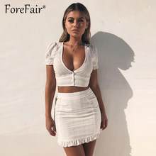 Forefair White Lace 2 Piece Set Women Summer Casual Cotton Sets Low Cut V Neck Button Sexy Crop Top And Mini Bodycon Skirt Suits(China)