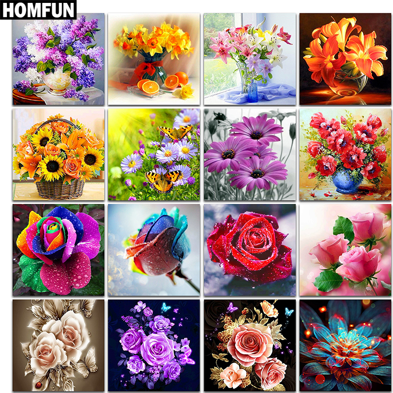 "HOMFUN Full Square/Round Drill 5D DIY Diamond Painting ""Colored flowers"" 3D Embroidery Cross Stitch 5D Home Decor Gift(China)"
