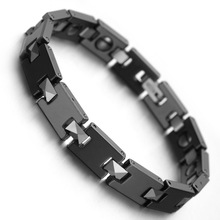 "Tungsten Magnetic Hematite Mens Bracelet 8"" Health Care Jewelry Wristband B1430"