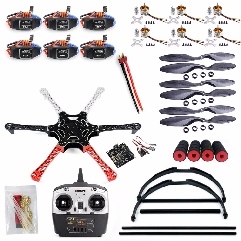 F550 Drone FlameWheel Kit With KK 2.3 ESC Motor Carbon Fiber Propellers RadioLink 6CH T8FB TX RX+Tall Landing Skid PTZ F05114-N f06586 c diy rc quadcopter fpv kit nylon flamewheel carbon tall landing skid kk v2 9 controller motor esc