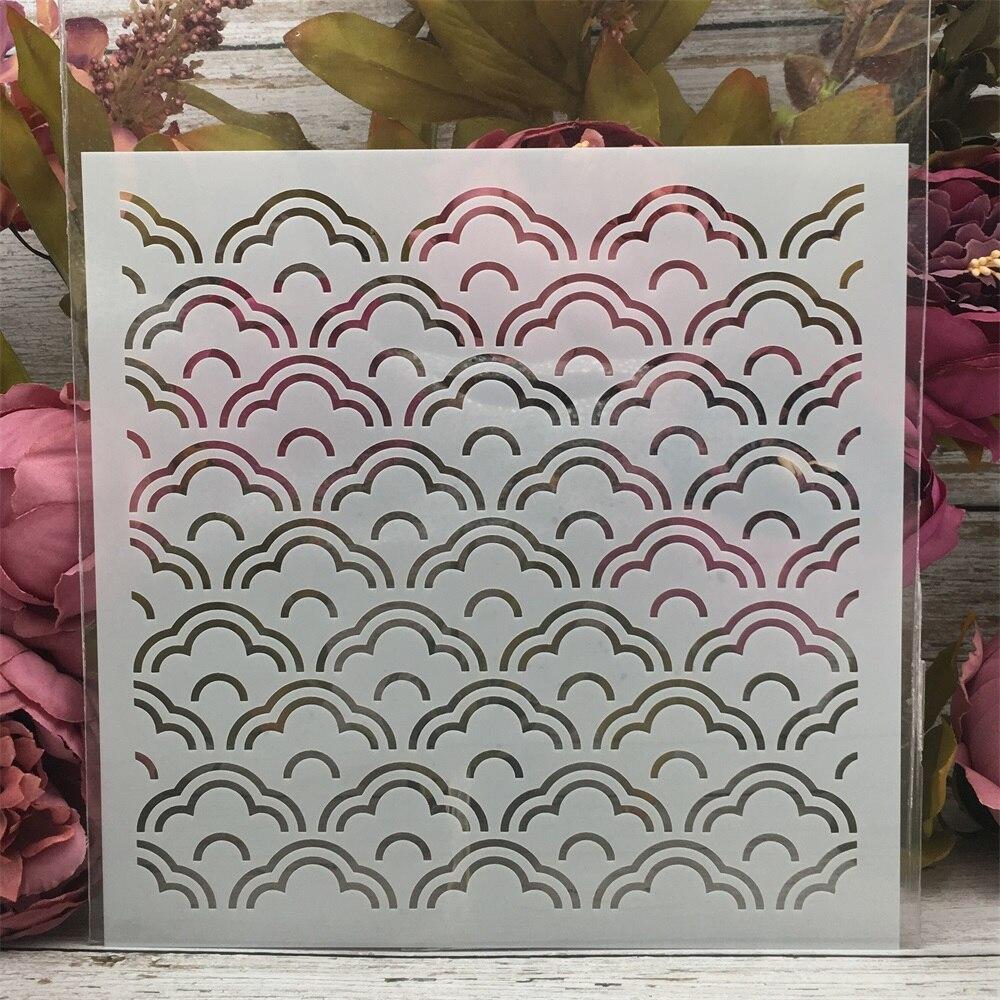 20*20cm Cloud Wavy Texture DIY Layering Stencils Painting Scrapbook Coloring Embossing Album Decorative Template