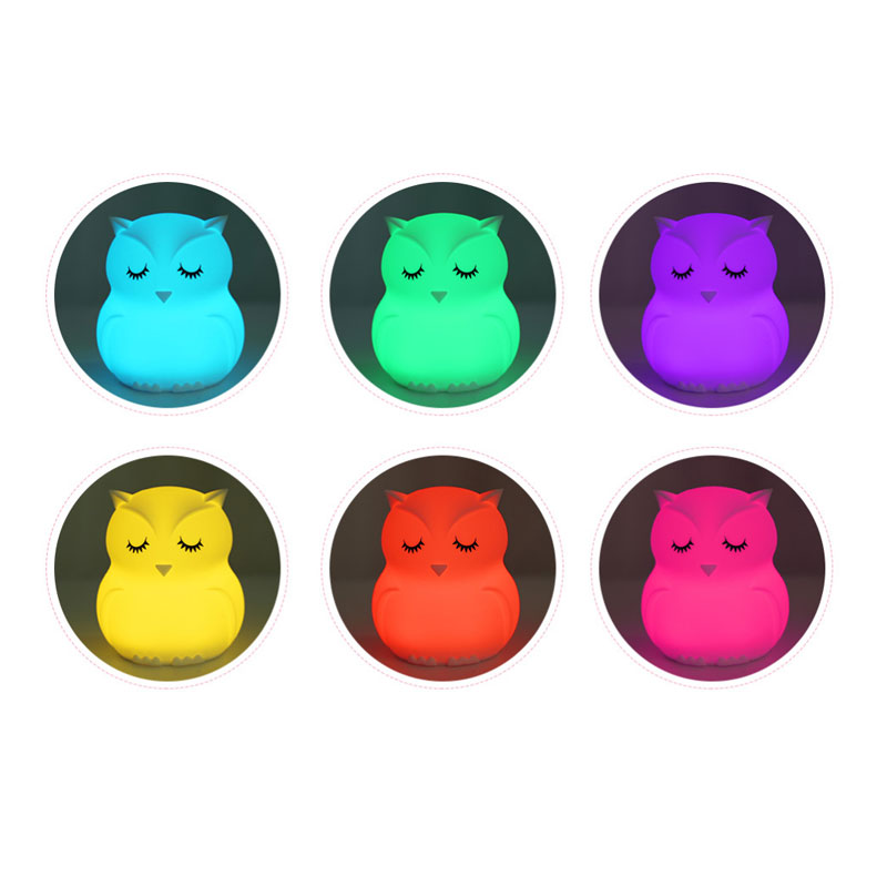 Image 3 - Lovely Owl Cartoon Silicone Baby Led Night Light  Children Toy Lights Bedside Night Lamp Gifts For Kids 8 Colors Changing-in LED Night Lights from Lights & Lighting