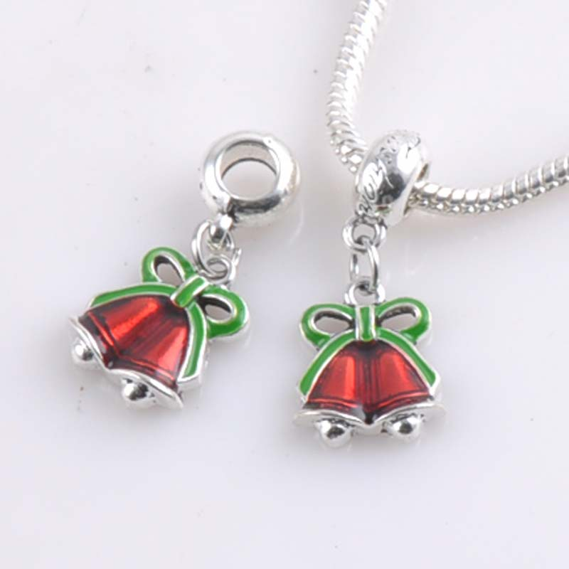 1 pcs 17x13mm Silver Red Christmas Bell Spacers Beads charms Fit Pandora Charms Bracelets Jewelry Handmade DIY DK-064X