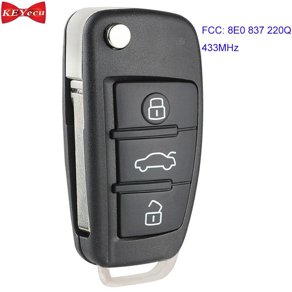 KEYECU pour Audi A6L Flip sans clé entrée télécommande voiture porte-clés 433 MHz 8E puce FCC ID 8E0 837 220Q