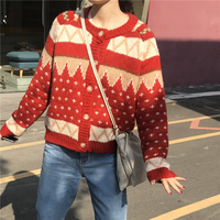 GRUIICEEN winter vintage ugly christmas sweater coat single breasted korean sweater cardigan jacket GY2018555